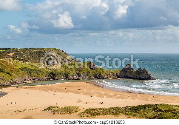 Three Cliffs Bay, Swansea, UK - csp51213653
