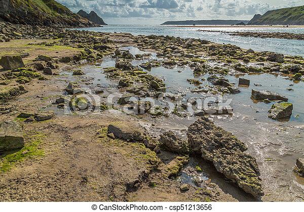 Three Cliffs Bay, Swansea, UK - csp51213656