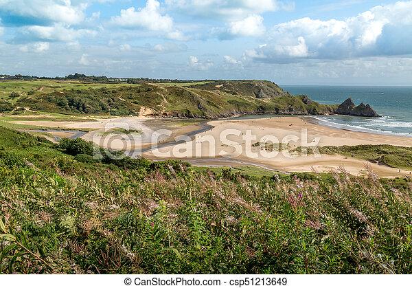 Three Cliffs Bay, Swansea, UK - csp51213649