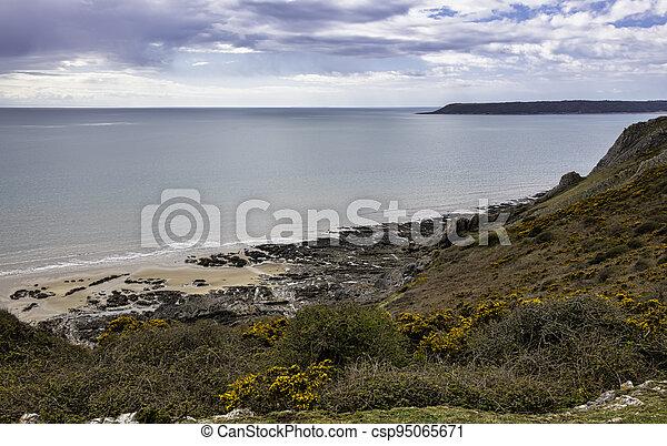 Three Cliffs Bay - Swansea, Wales, United Kingdom - csp95065671