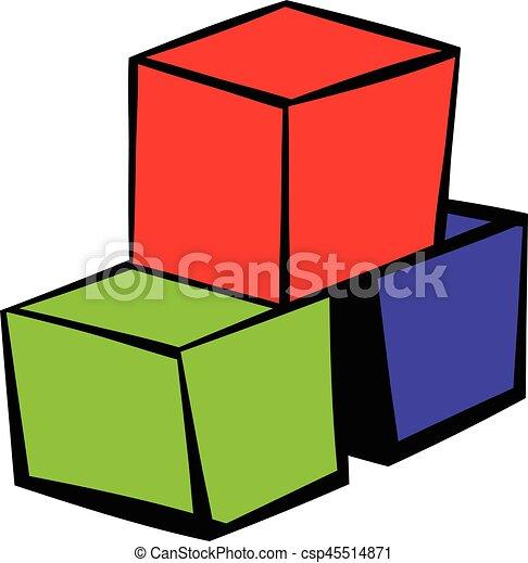 Three colored cubes icon, icon cartoon - csp45514871