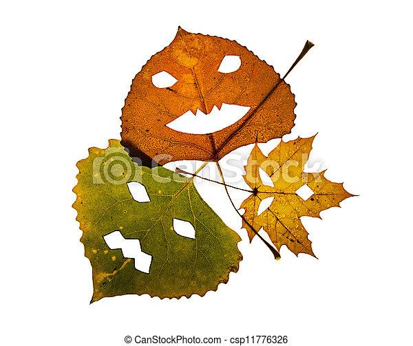 Three colorful Jack-O-Lantern Leaves - csp11776326
