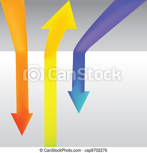 Three colour arrow going up and down - illustration - csp9702276