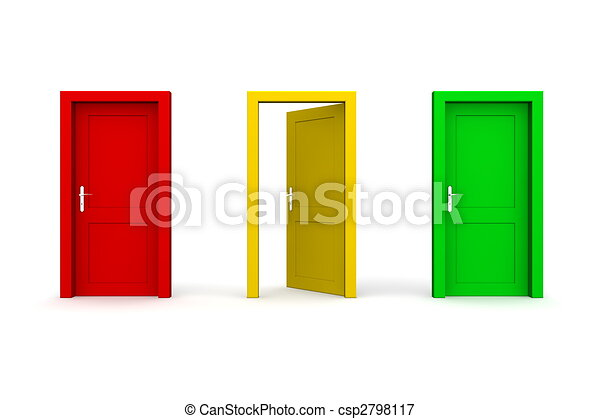 Three Coloured Doors - Open Yellow - csp2798117  sc 1 st  Can Stock Photo & Three coloured doors - open yellow. Three doors in a a row - red ...
