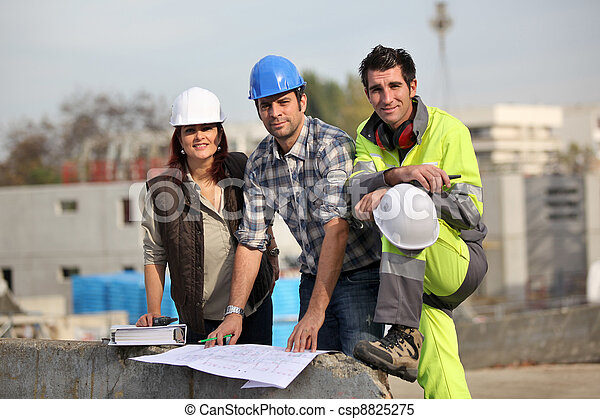 Three construction workers at site - csp8825275