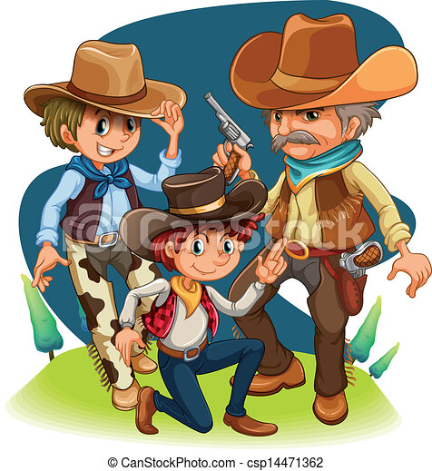 Three cowboys in different positions - csp14471362