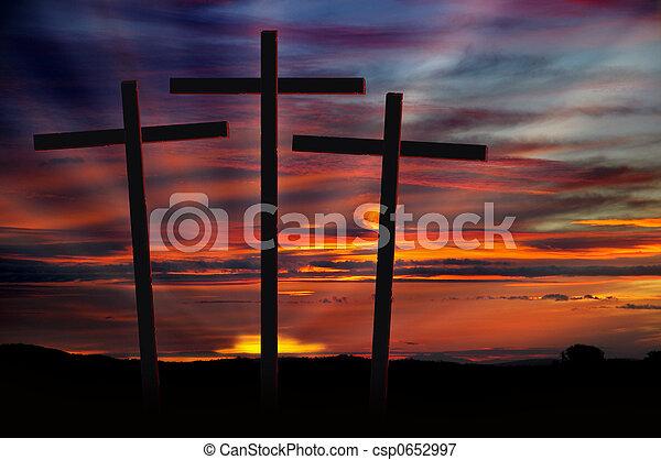 Three Crosses at Sunset - csp0652997