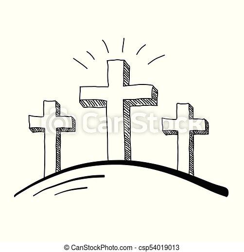 Three Crosses Doodle - csp54019013