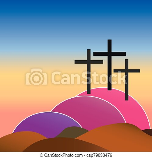 three crosses on golgotha - csp79033476