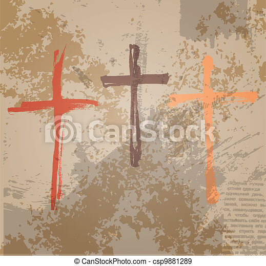 Three Crosses on the grunge background. The biblical concept of the crucifixion - csp9881289