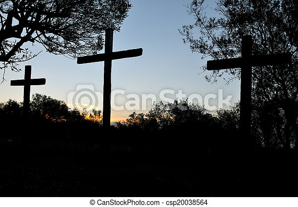 Three crosses silhouette - csp20038564
