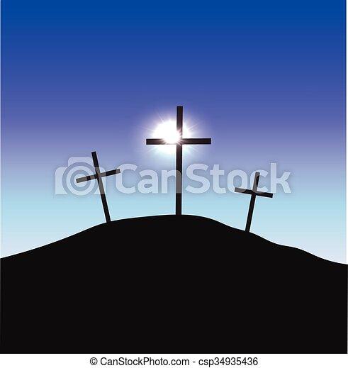 Three crosses standing on Golgotha - csp34935436