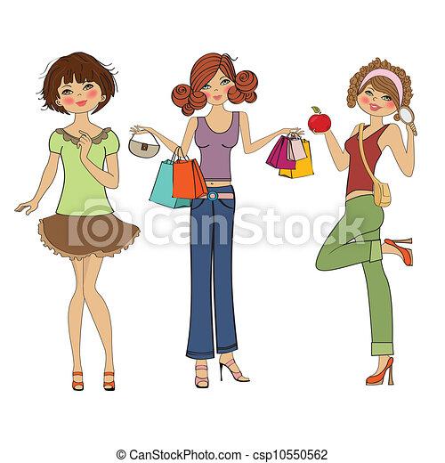 three cute fashion girls - csp10550562
