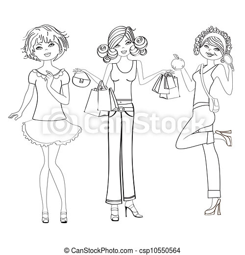three cute fashion girls - csp10550564