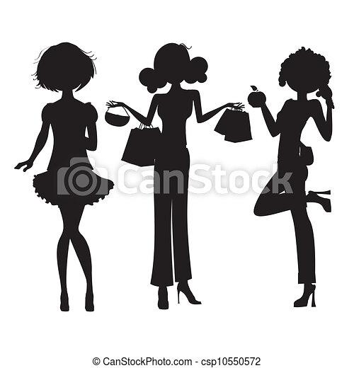 three cute fashion girls - csp10550572