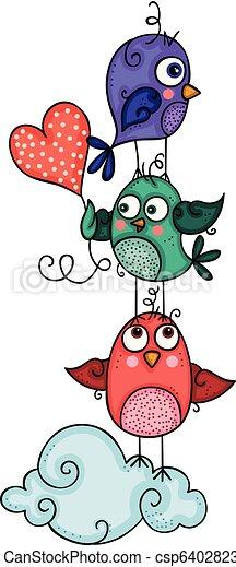 Three cute friendly birds - csp64028233