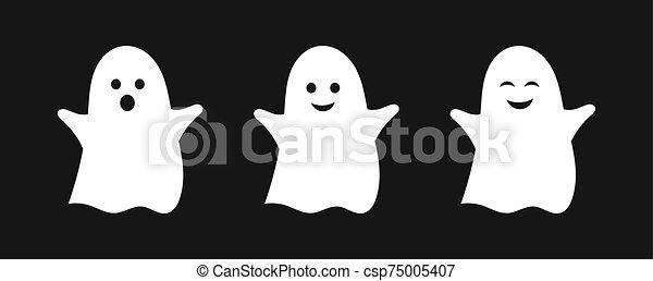 Three cute ghosts. - csp75005407
