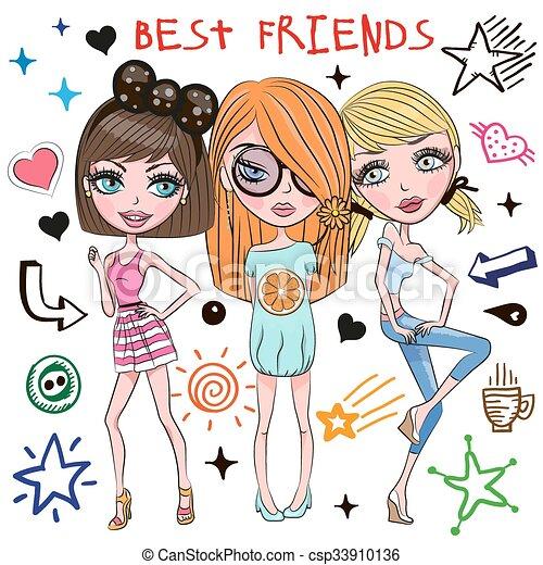 Cute Drawings Of Three Best Friends Drawing Art Ideas