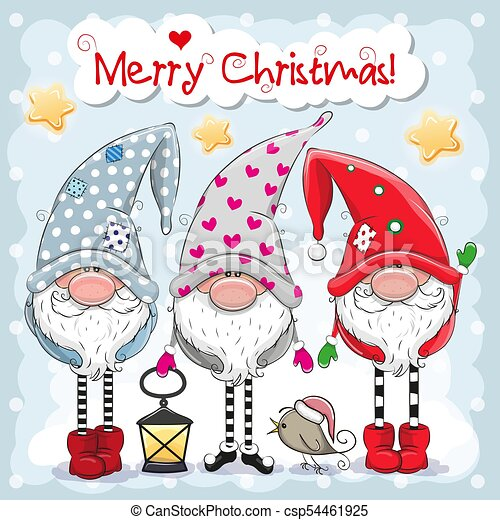 Christmas Gnomes Clipart.Three Cute Gnomes On A Blue Background