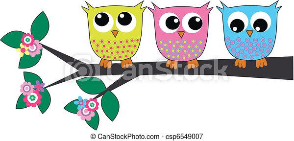 three cute owls - csp6549007