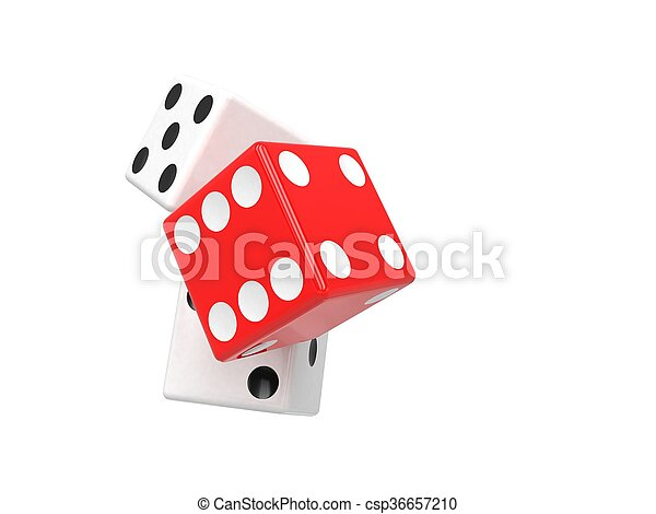 three dices on white. 3d rendering. - csp36657210