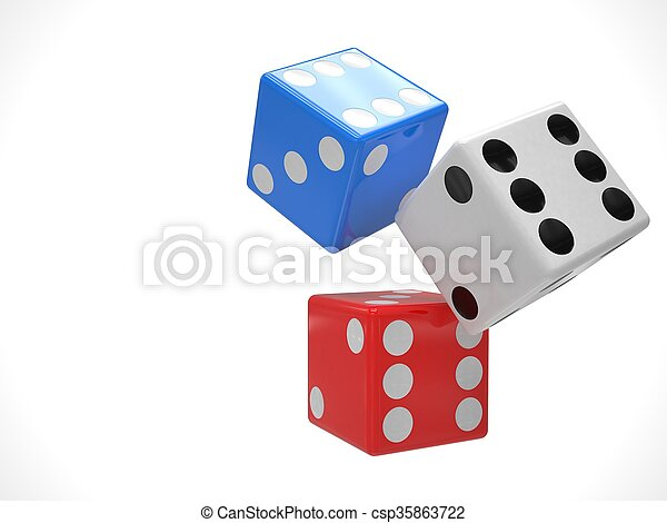 three dices on white. 3d rendering. - csp35863722