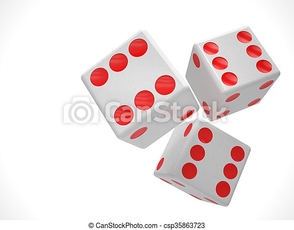 three dices on white. 3d rendering. - csp35863723