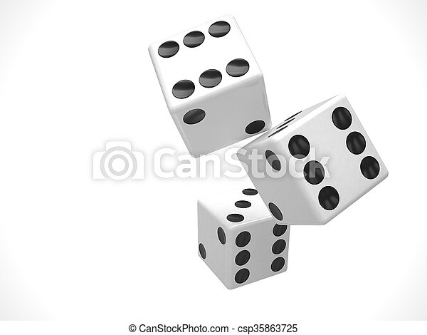 three dices on white. 3d rendering. - csp35863725