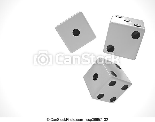 three dices on white. 3d rendering. - csp36657132