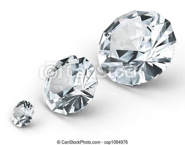 Three different diamonds on white background - csp1084976