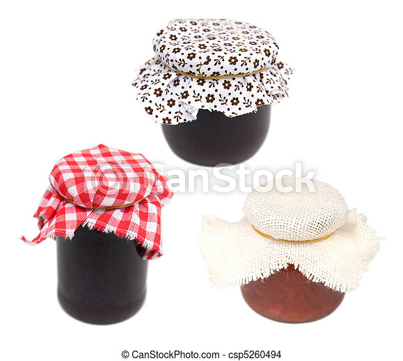 three different jars covered with cloth - csp5260494