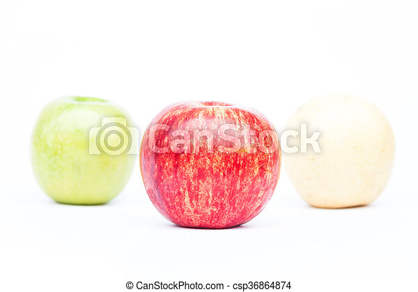Three different kind of apples on white background - csp36864874