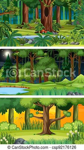 Three different nature horizontal scenes - csp92176126