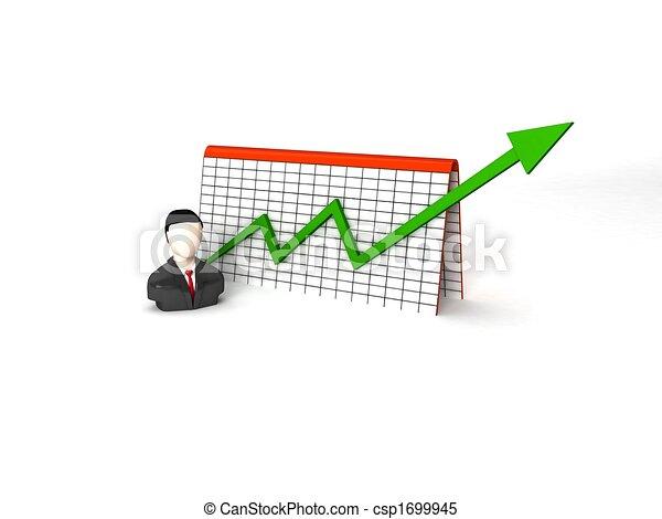 three dimensional businessman with progress graph - csp1699945