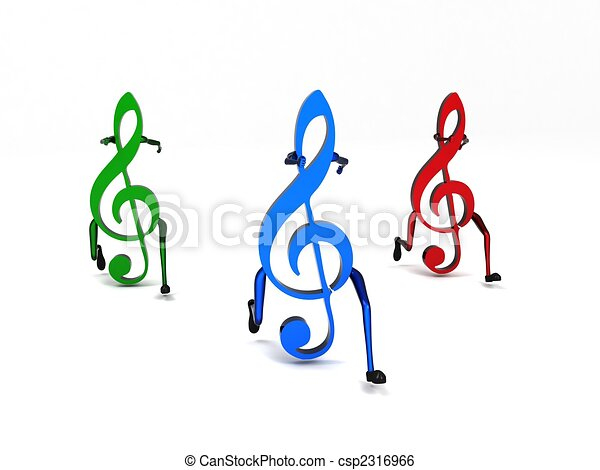 three dimensional colored musical notes - csp2316966