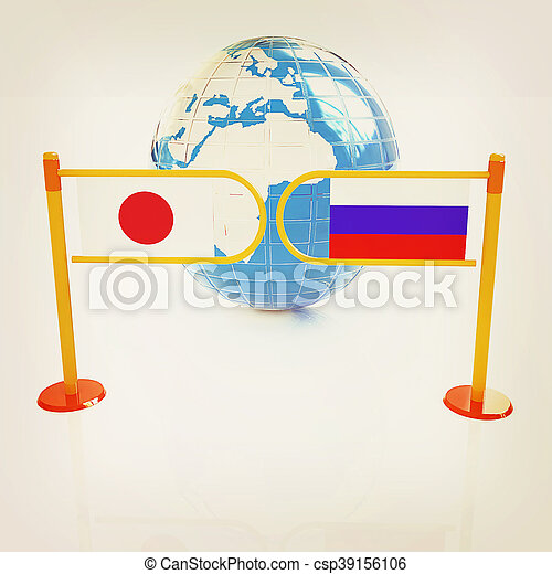 Three-dimensional image of the turnstile and flags of Japanese and Russia. 3D illustration. Vintage style. - csp39156106