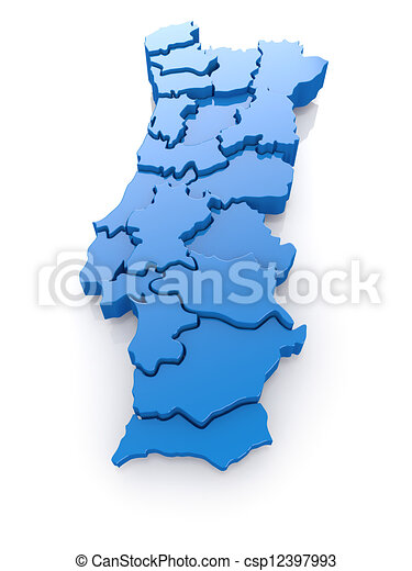 Three Dimensional Map Of Portugal On White Background 3d