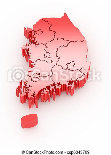 Three-dimensional map of Southern Korea. - csp6843709