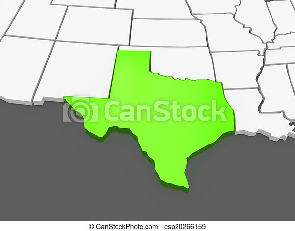 3d Map Of Texas.Three Dimensional Map Of Texas Usa
