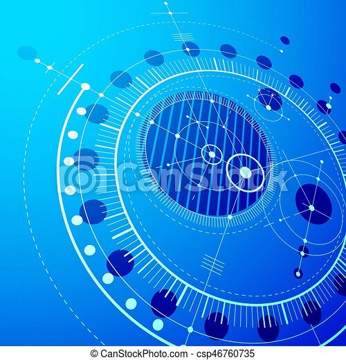 Three Dimensional Mechanical Scheme Blue Vector Engineering Drawing With Circles And Geometric Parts Of Mechanism Technical Plan Can Be Used In Web Design