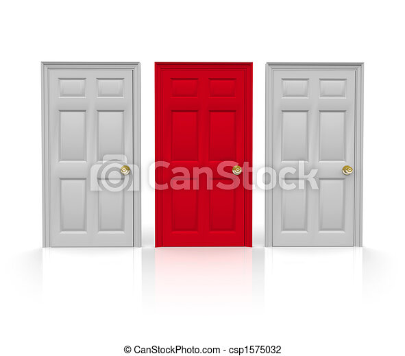 Three Doors - Which to Choose - csp1575032  sc 1 st  Can Stock Photo & Three doors - which to choose. Three doors stand before... clip art ...