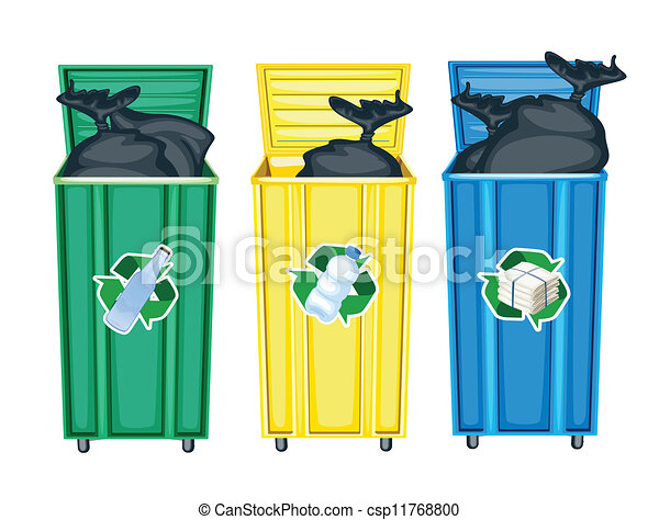 three dustbins - csp11768800