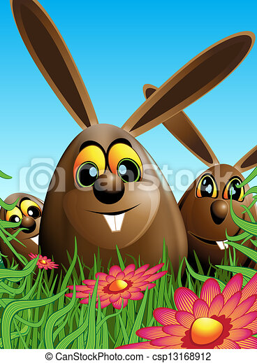 Three Easter eggs hidden in the grass - csp13168912