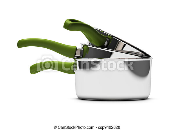 three empty pan over white background with green handle - csp9402828