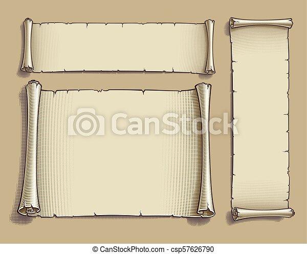 Three Engraved Cartoon Scrolls Set Of Three Vector Engraved