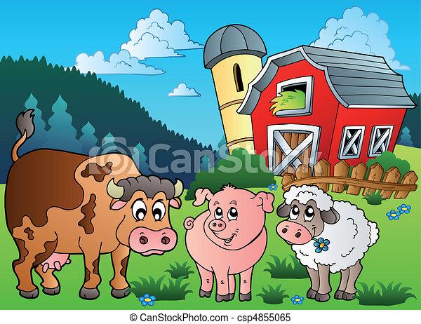 Three farm animals near barn - csp4855065