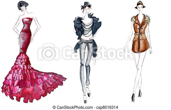 three fashion sketches - csp8016314