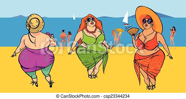 Three fatties on the beach. Funny vector cartoon colorfull fatties ...