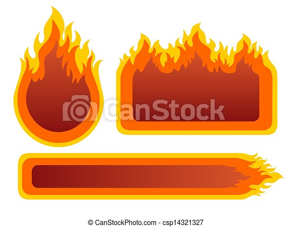 Three fire frames. Three ornate fire frames isolated on a... clip ...