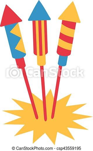 Three firework rockets - csp43559195